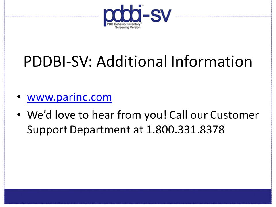 PDDBI-SV: Additional Information