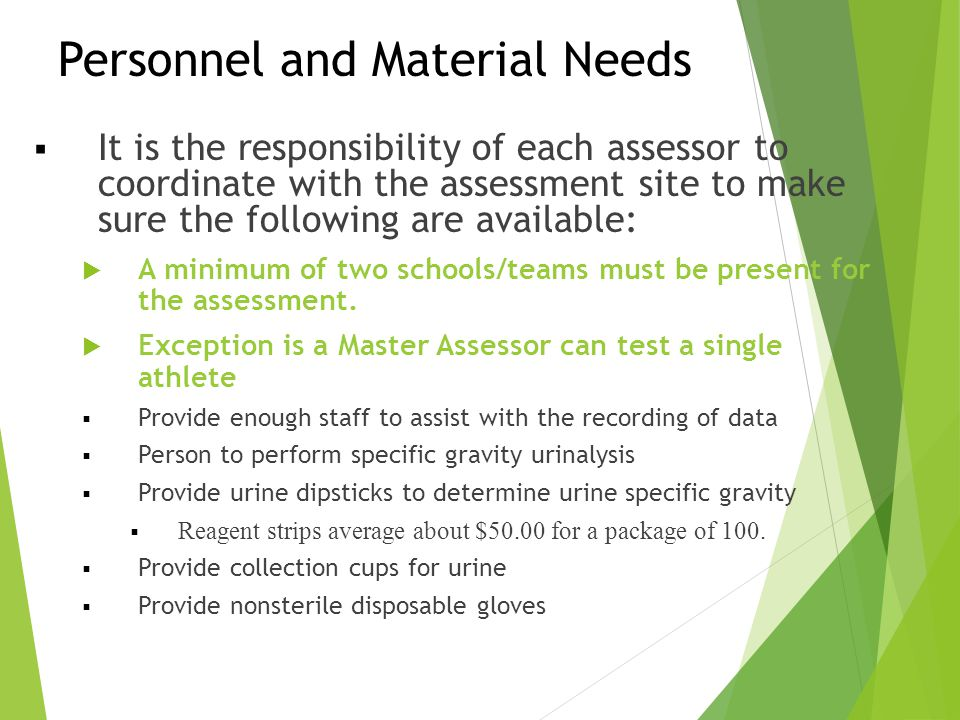 Personnel and Material Needs