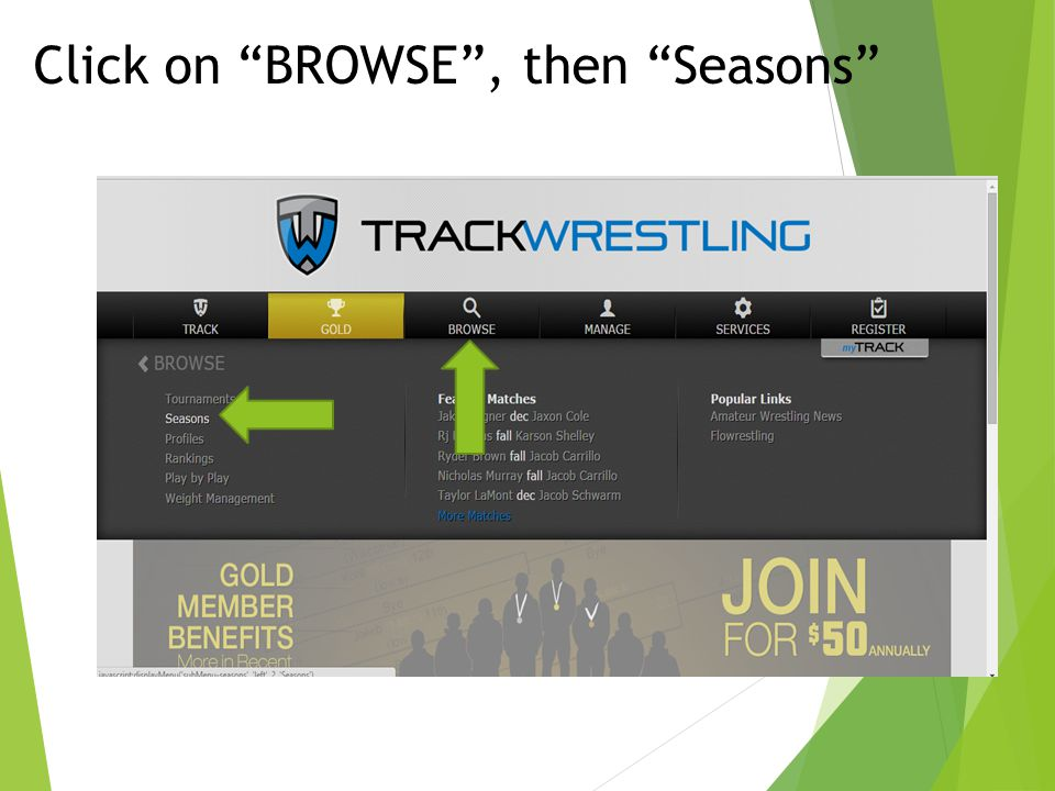 Click on BROWSE , then Seasons