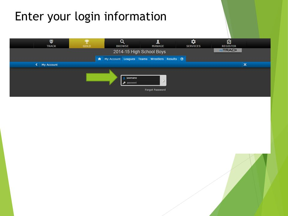 Enter your login information