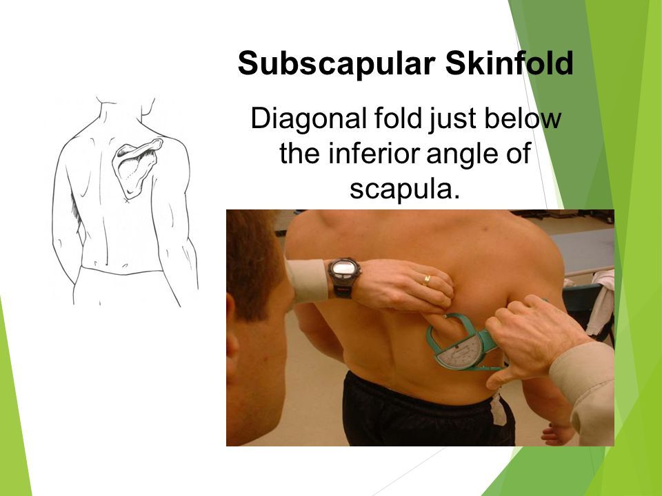 Diagonal fold just below the inferior angle of scapula.