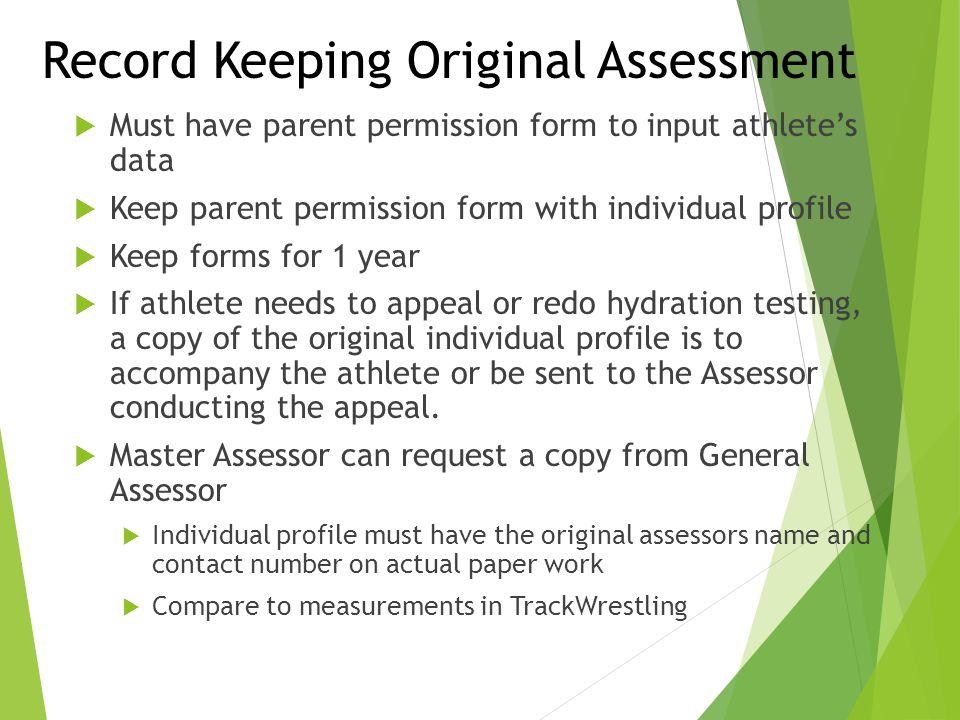 Record Keeping Original Assessment