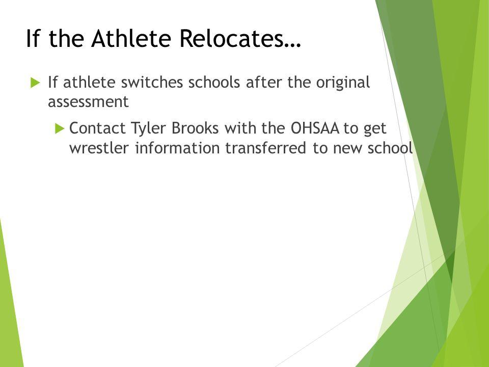If the Athlete Relocates…