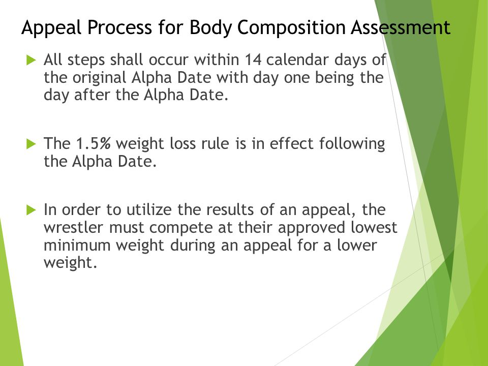 Appeal Process for Body Composition Assessment