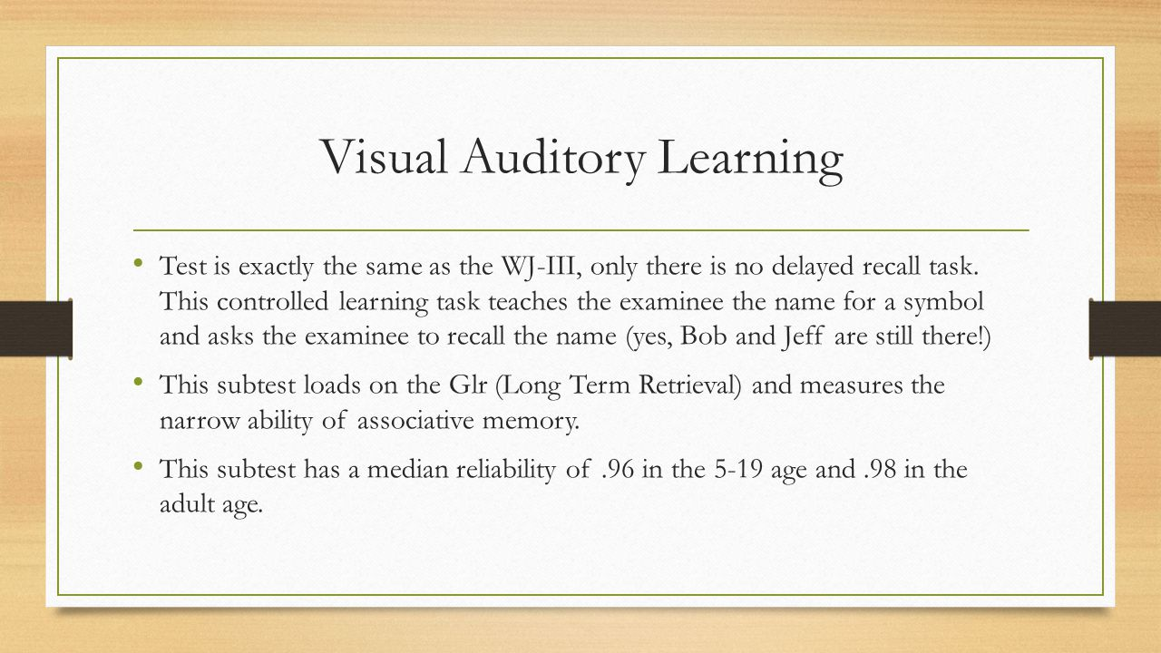 Visual Auditory Learning