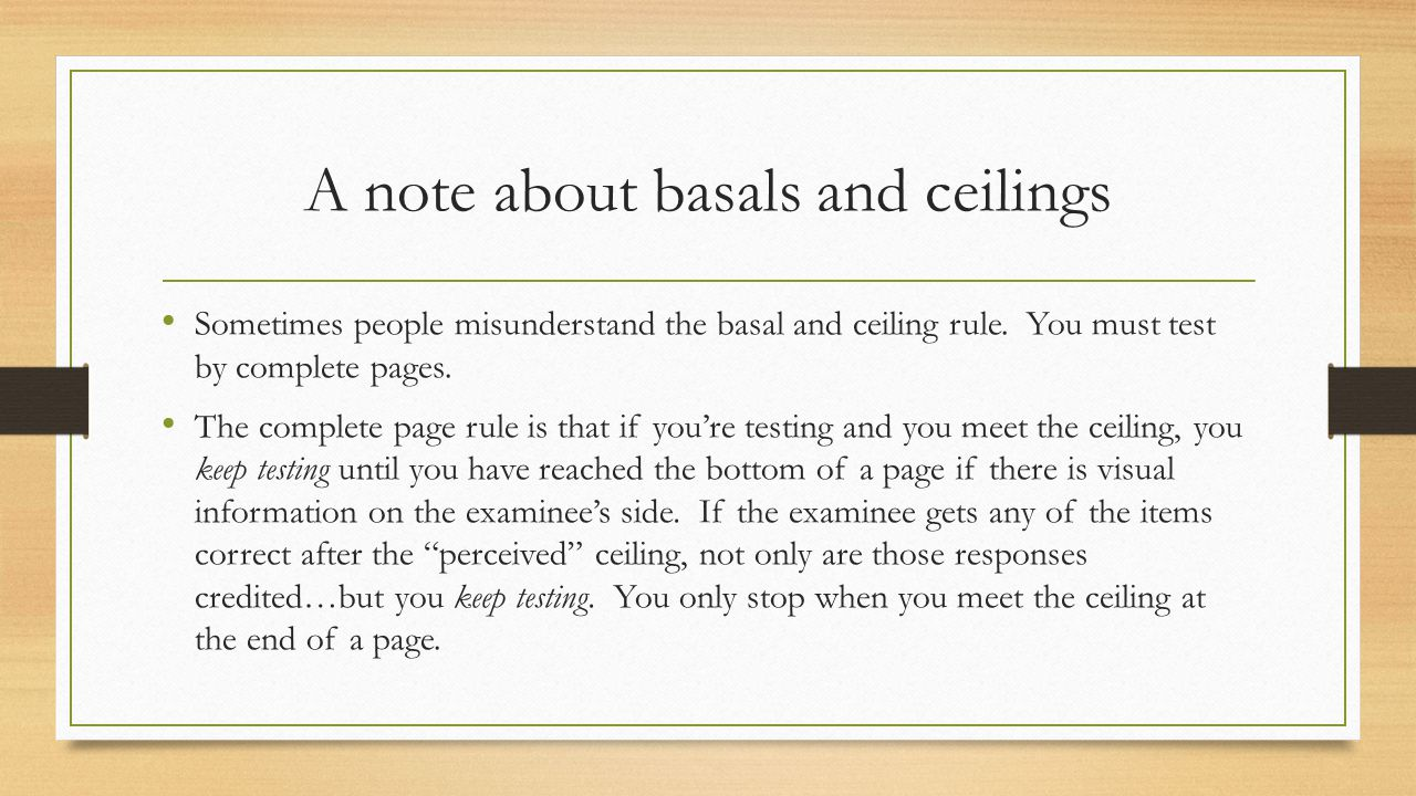 A note about basals and ceilings