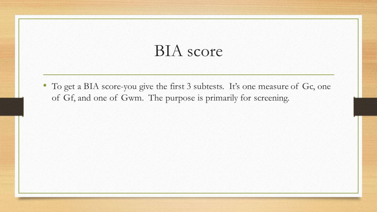 BIA score