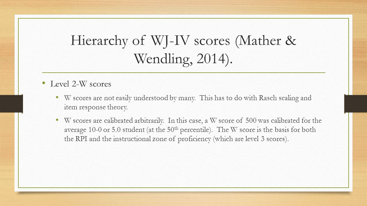 Hierarchy of WJ-IV scores (Mather & Wendling, 2014).