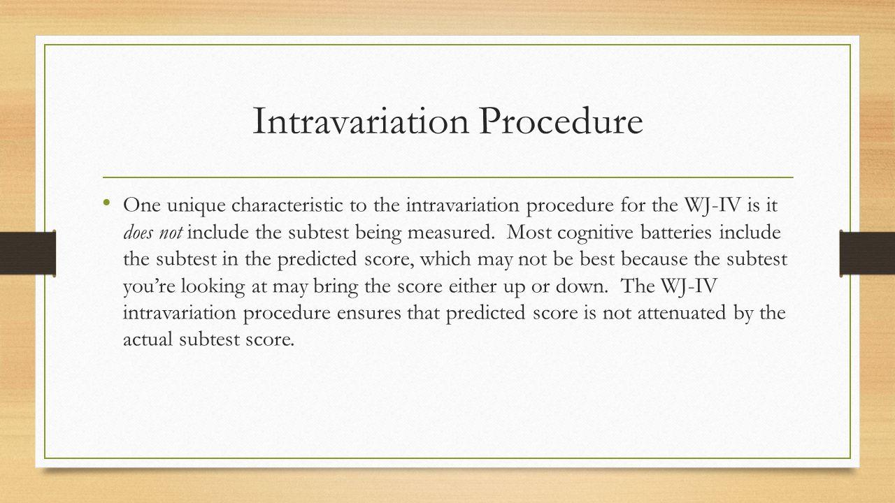Intravariation Procedure