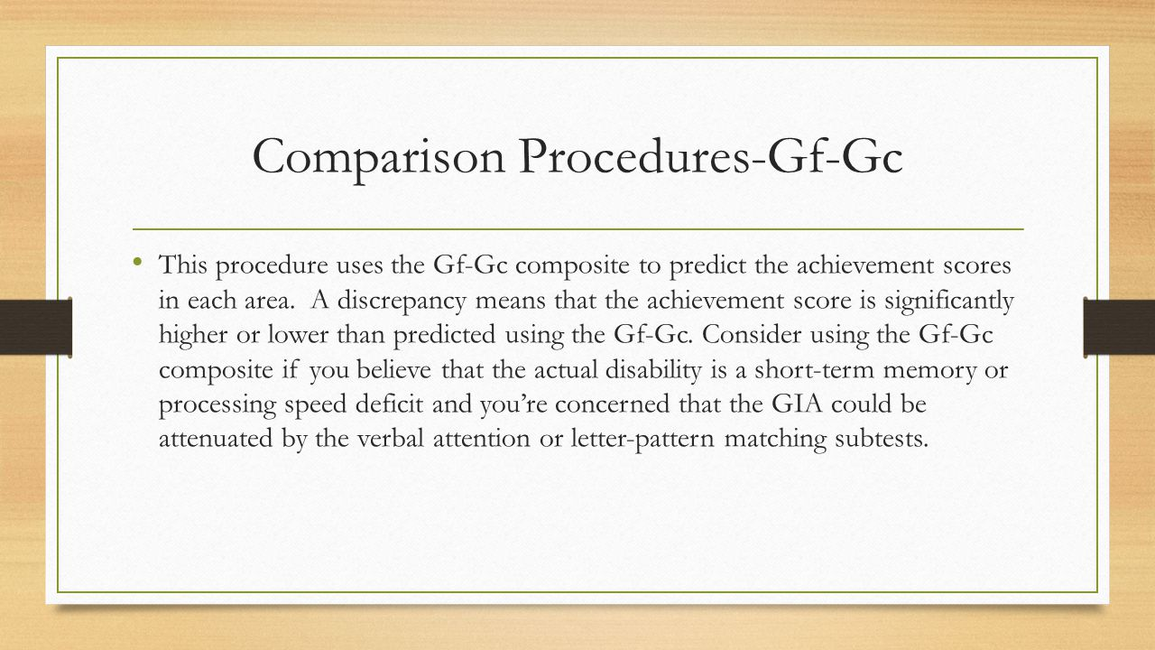 Comparison Procedures-Gf-Gc