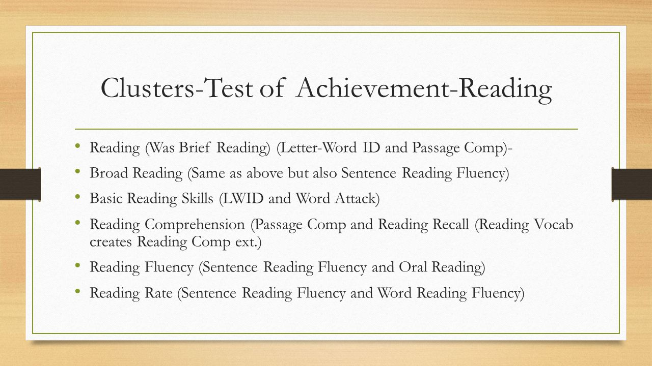 Clusters-Test of Achievement-Reading