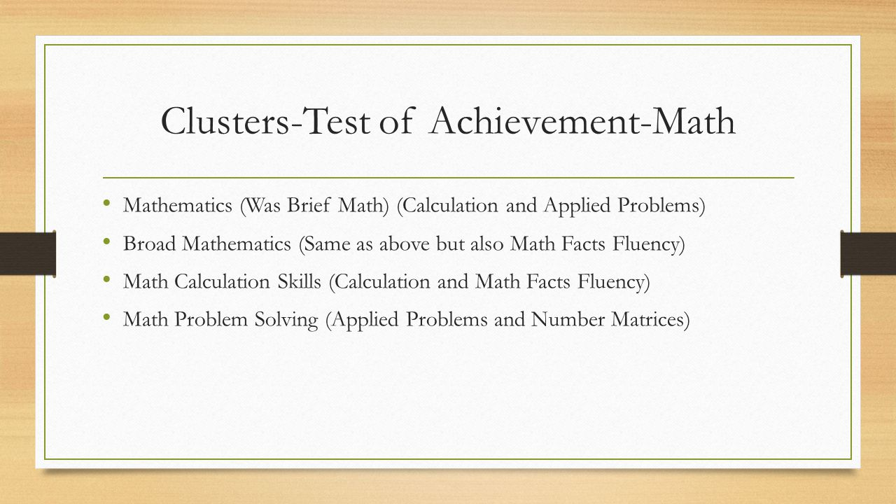 Clusters-Test of Achievement-Math