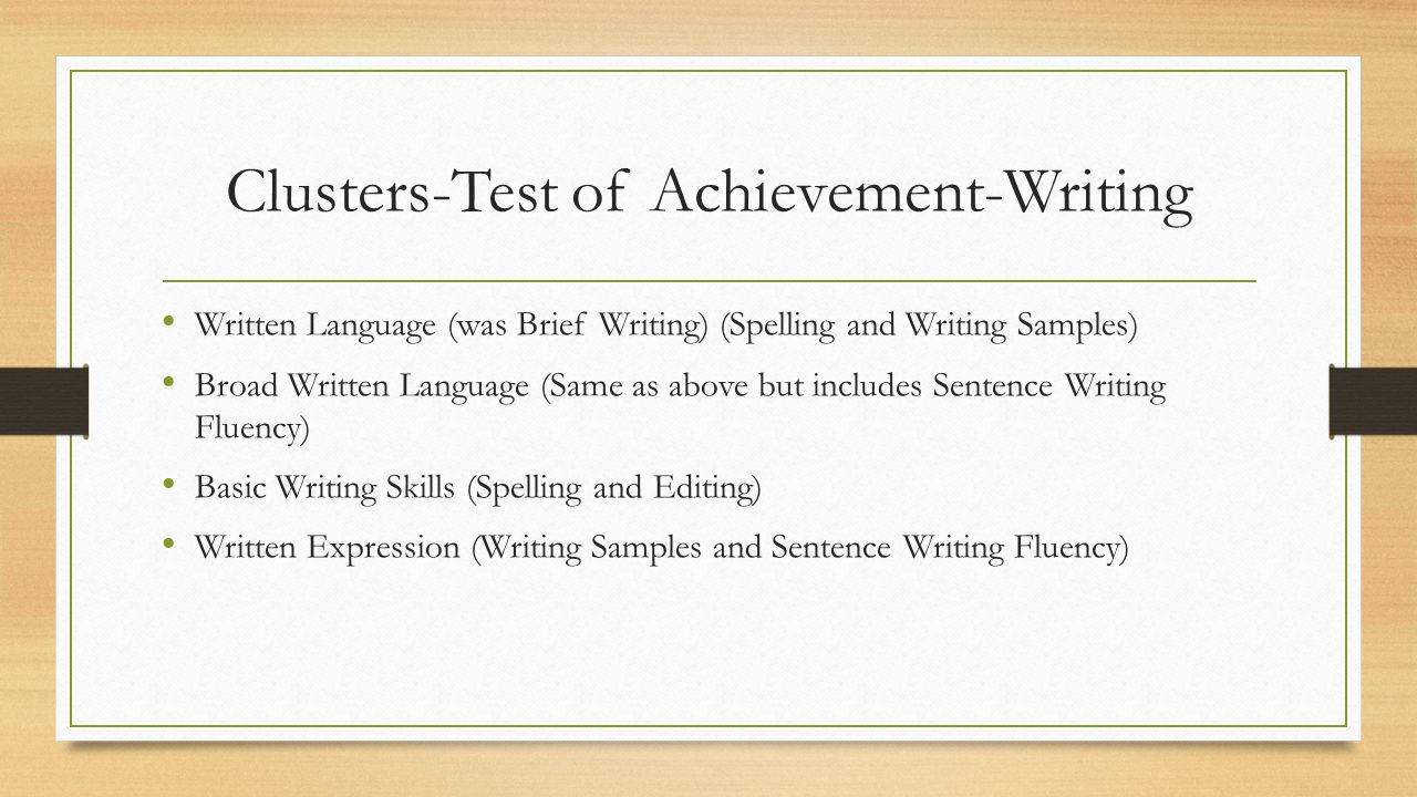 Clusters-Test of Achievement-Writing