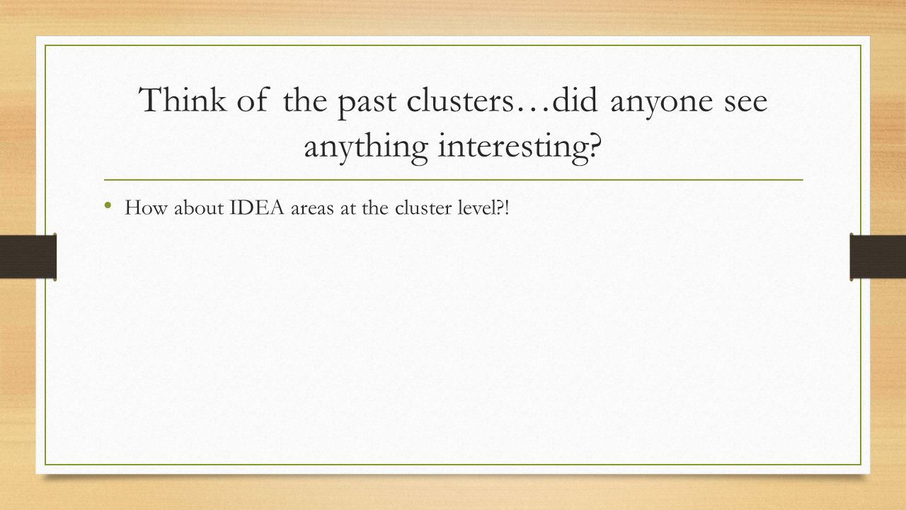 Think of the past clusters…did anyone see anything interesting