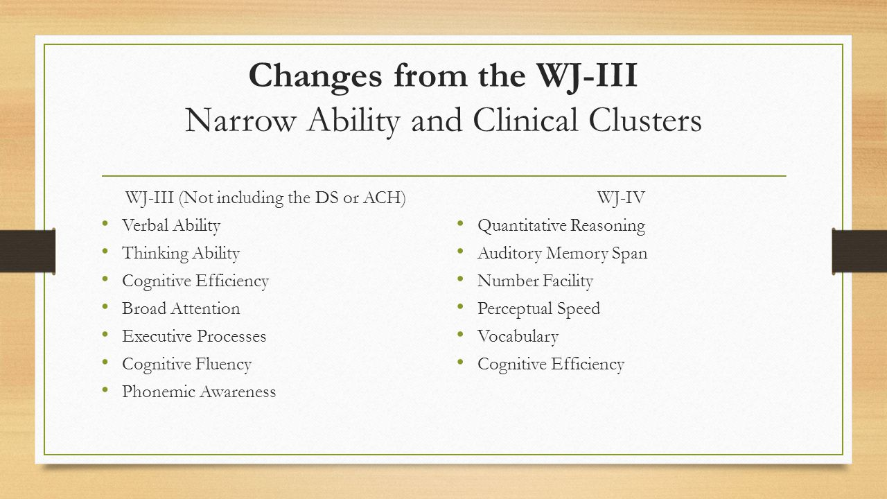 Changes from the WJ-III Narrow Ability and Clinical Clusters