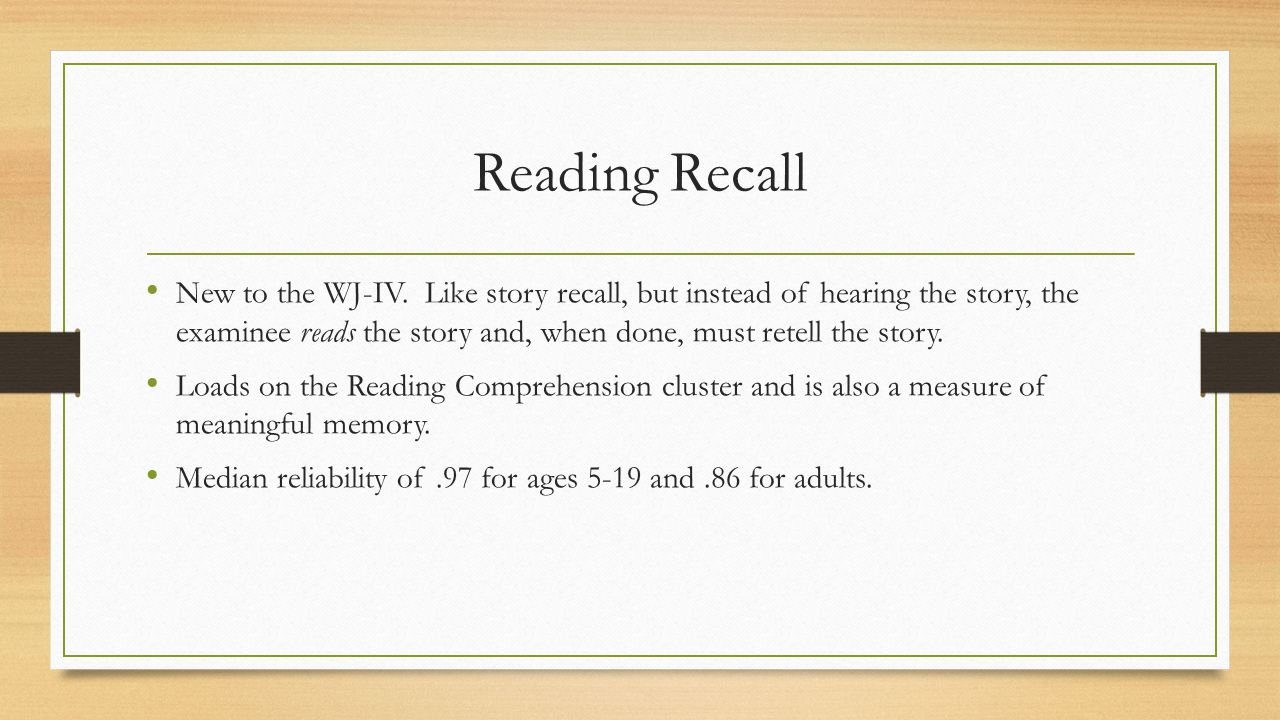 Reading Recall