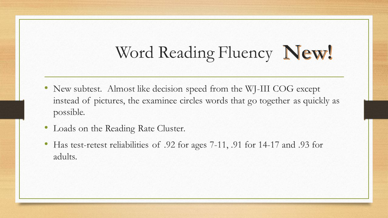 New! Word Reading Fluency