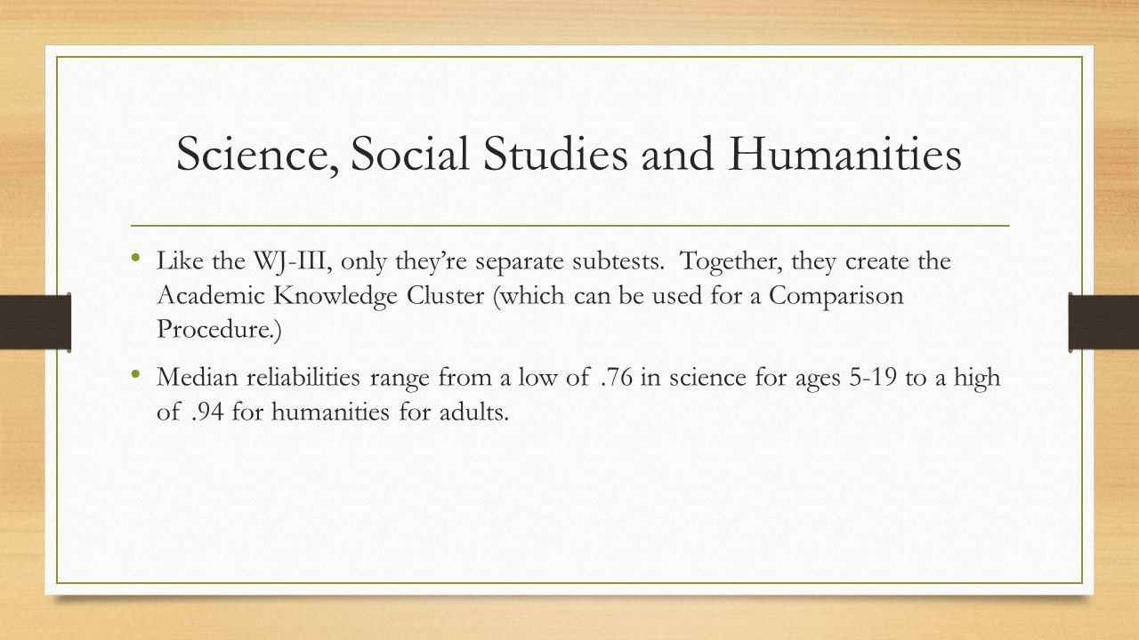 Science, Social Studies and Humanities
