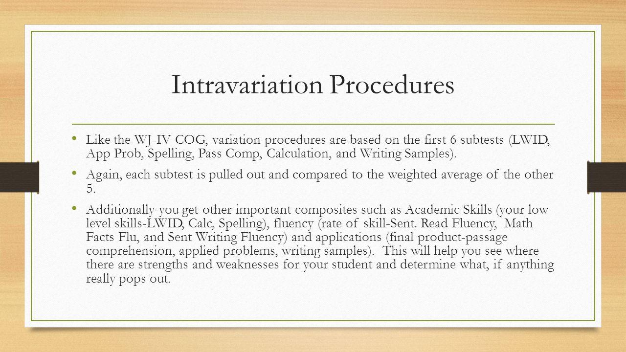 Intravariation Procedures