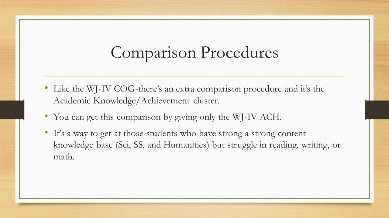 Comparison Procedures