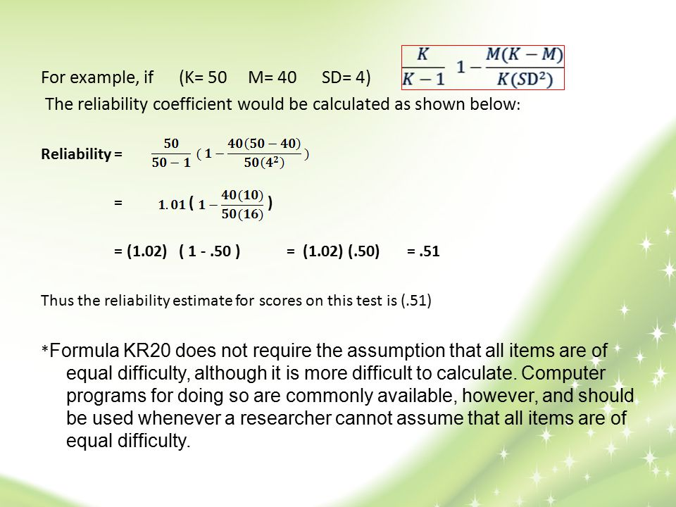 For example, if (K= 50 M= 40 SD= 4)