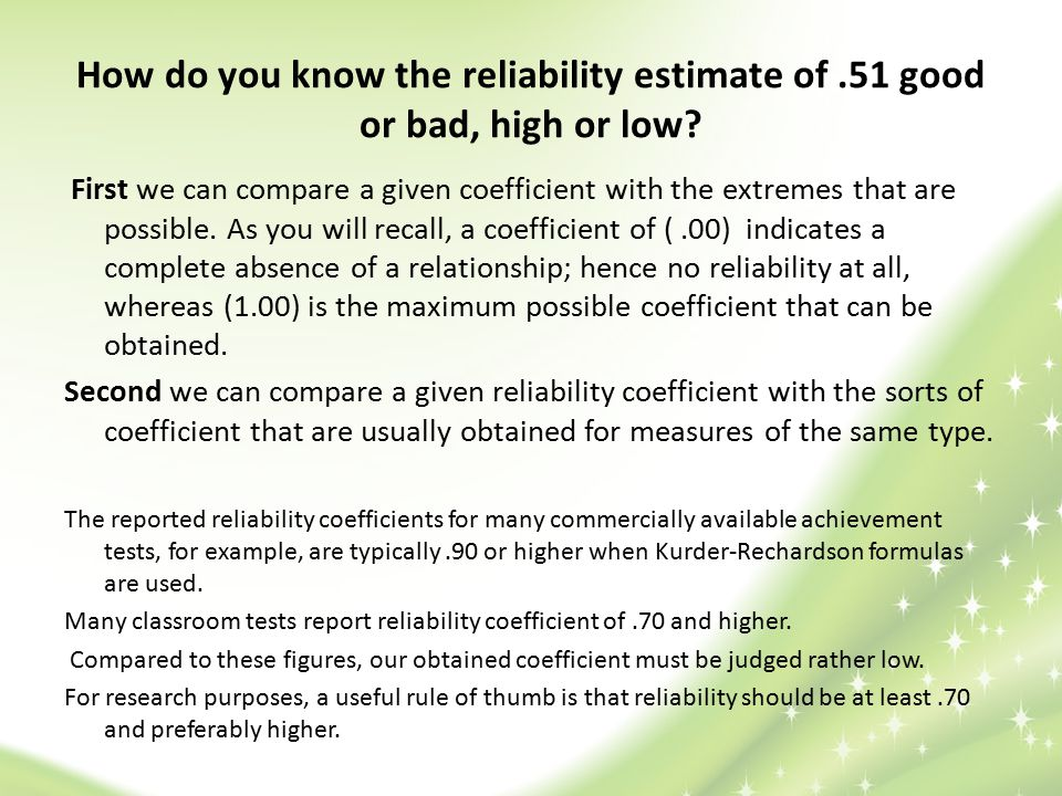 How do you know the reliability estimate of