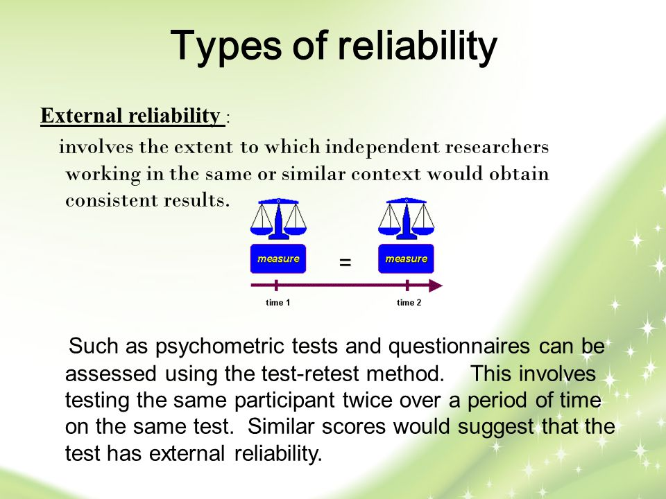 Types of reliability External reliability :