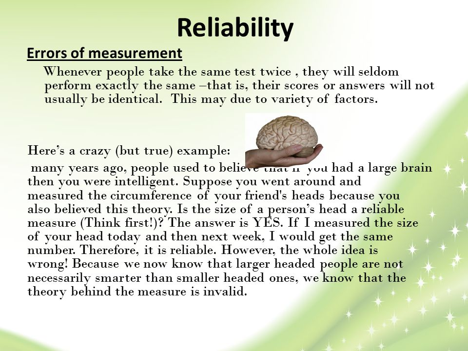 Reliability Errors of measurement