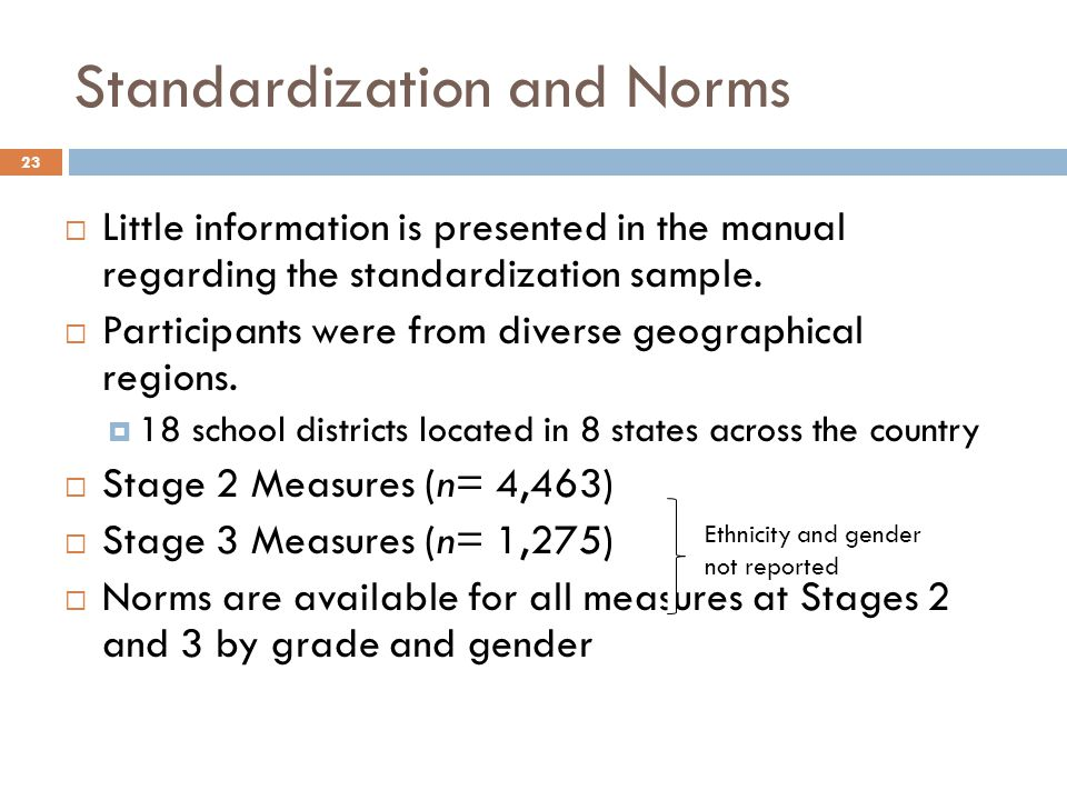 Standardization and Norms