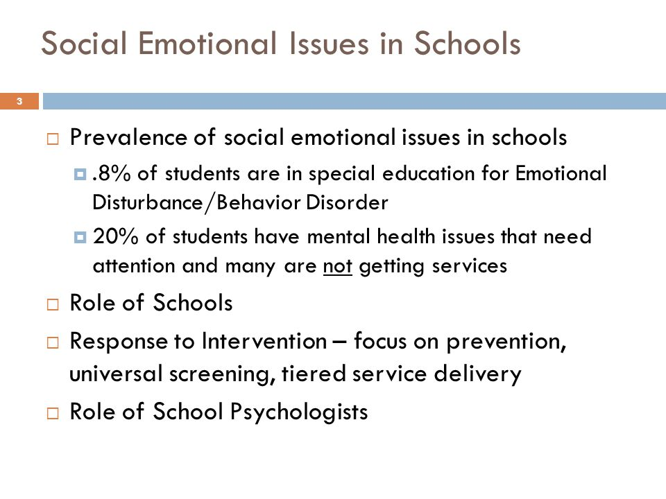 Social Emotional Issues in Schools