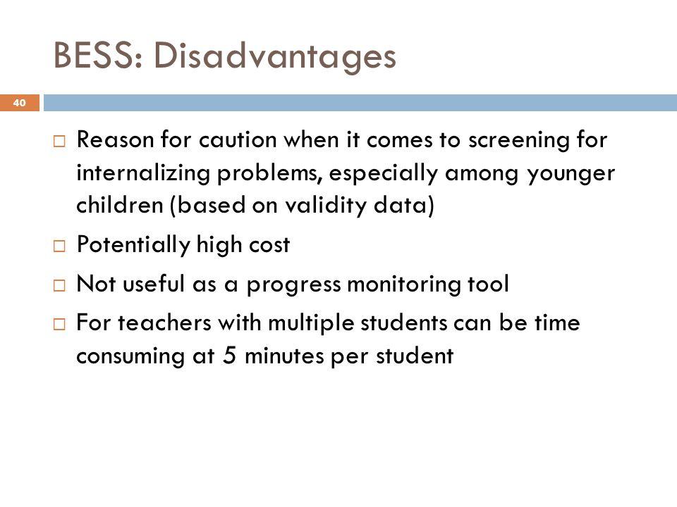 BESS: Disadvantages