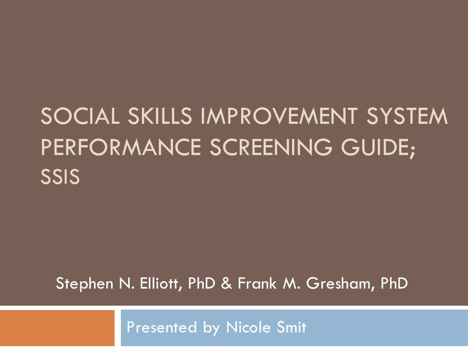 Social Skills Improvement System Performance Screening Guide; SSiS
