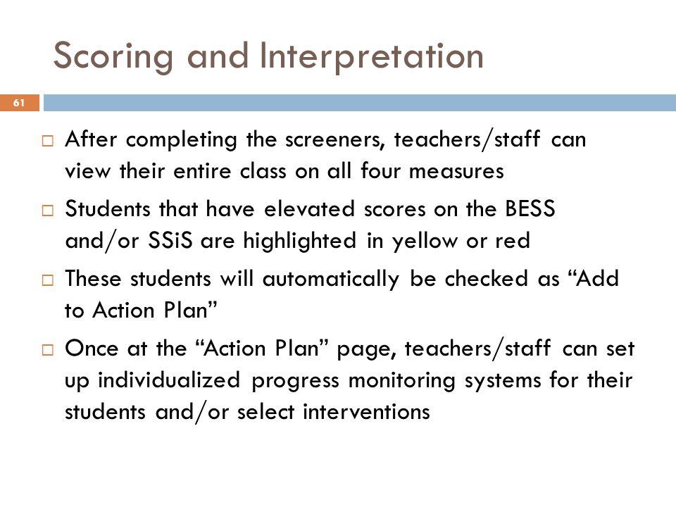 Scoring and Interpretation