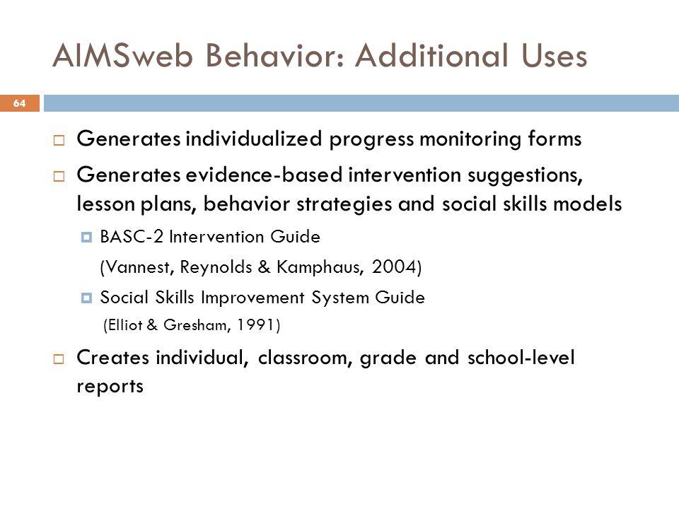 AIMSweb Behavior: Additional Uses