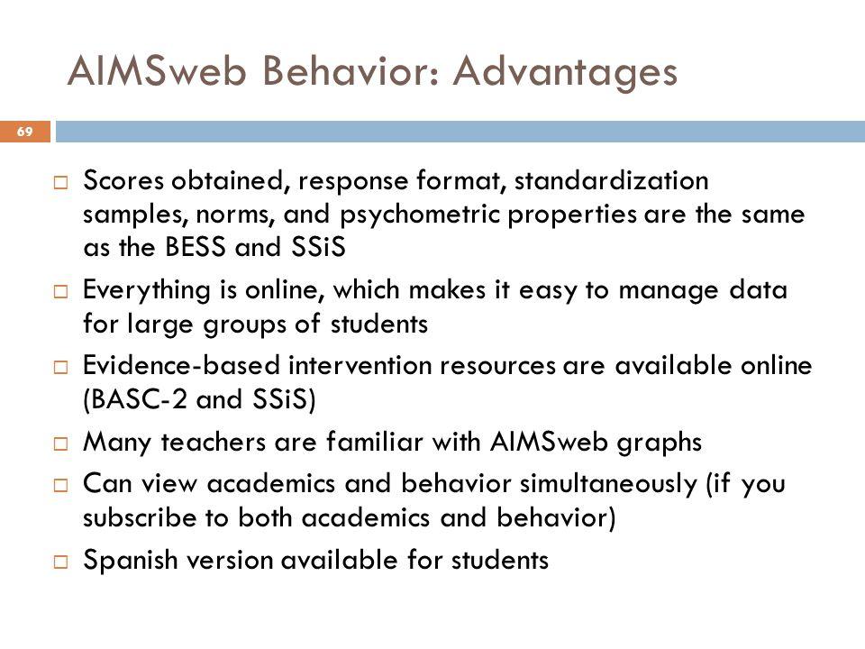 AIMSweb Behavior: Advantages