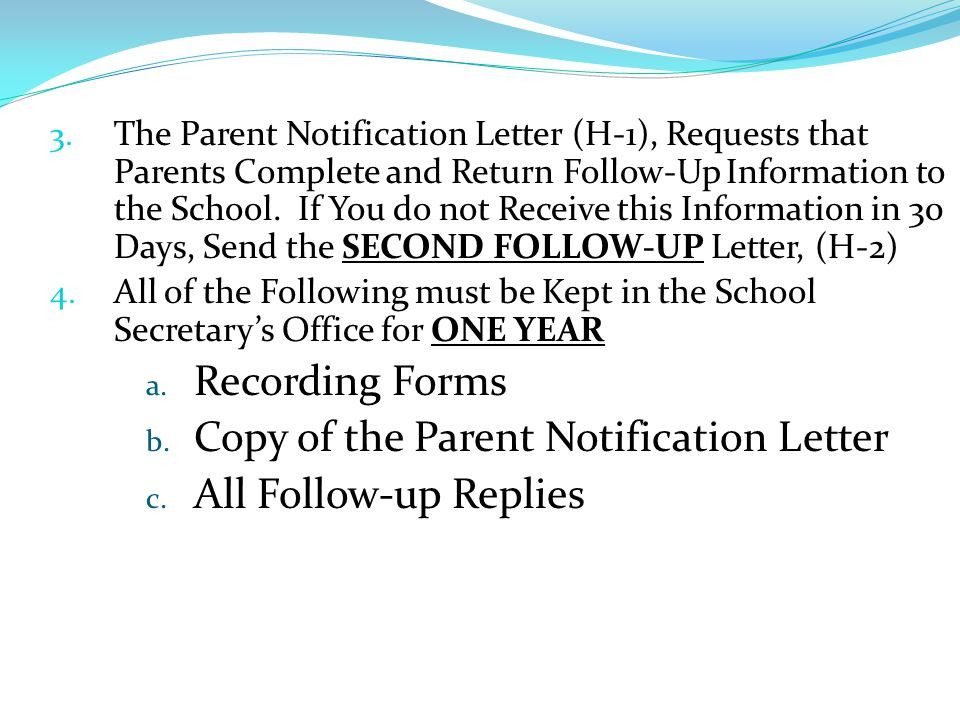 Copy of the Parent Notification Letter All Follow-up Replies
