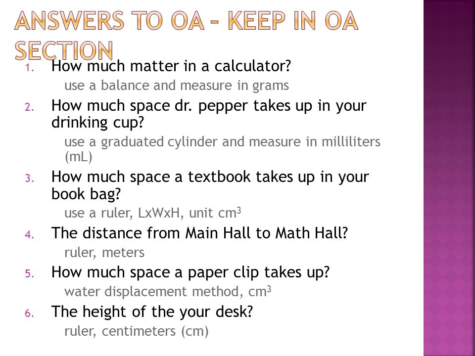 Answers to OA – keep in OA section
