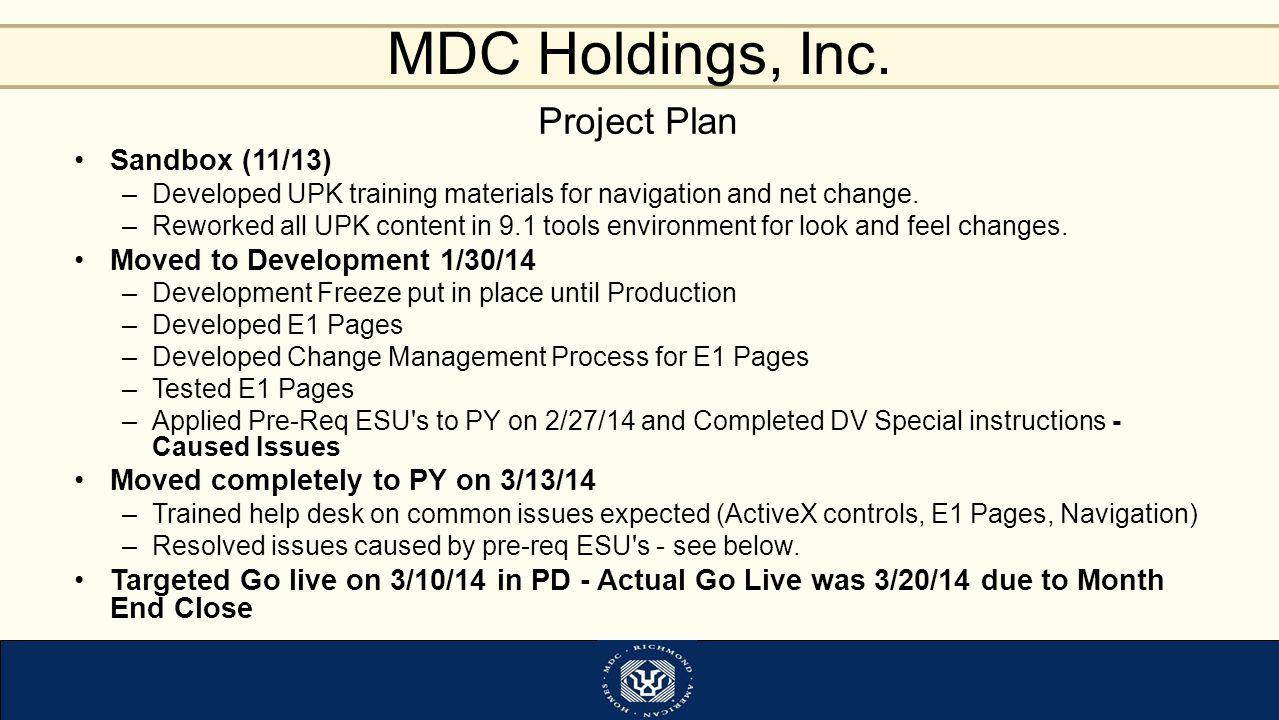 Project Plan Sandbox (11/13) Moved to Development 1/30/14