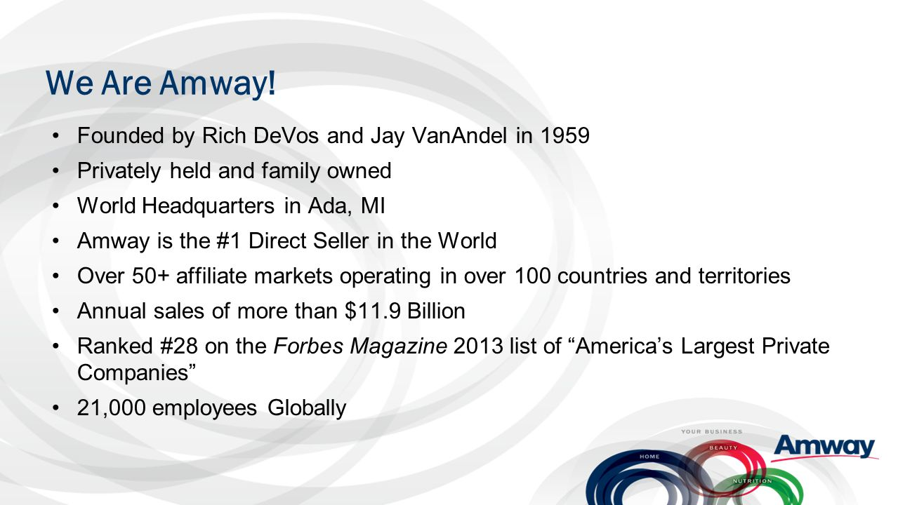 We Are Amway! Founded by Rich DeVos and Jay VanAndel in 1959