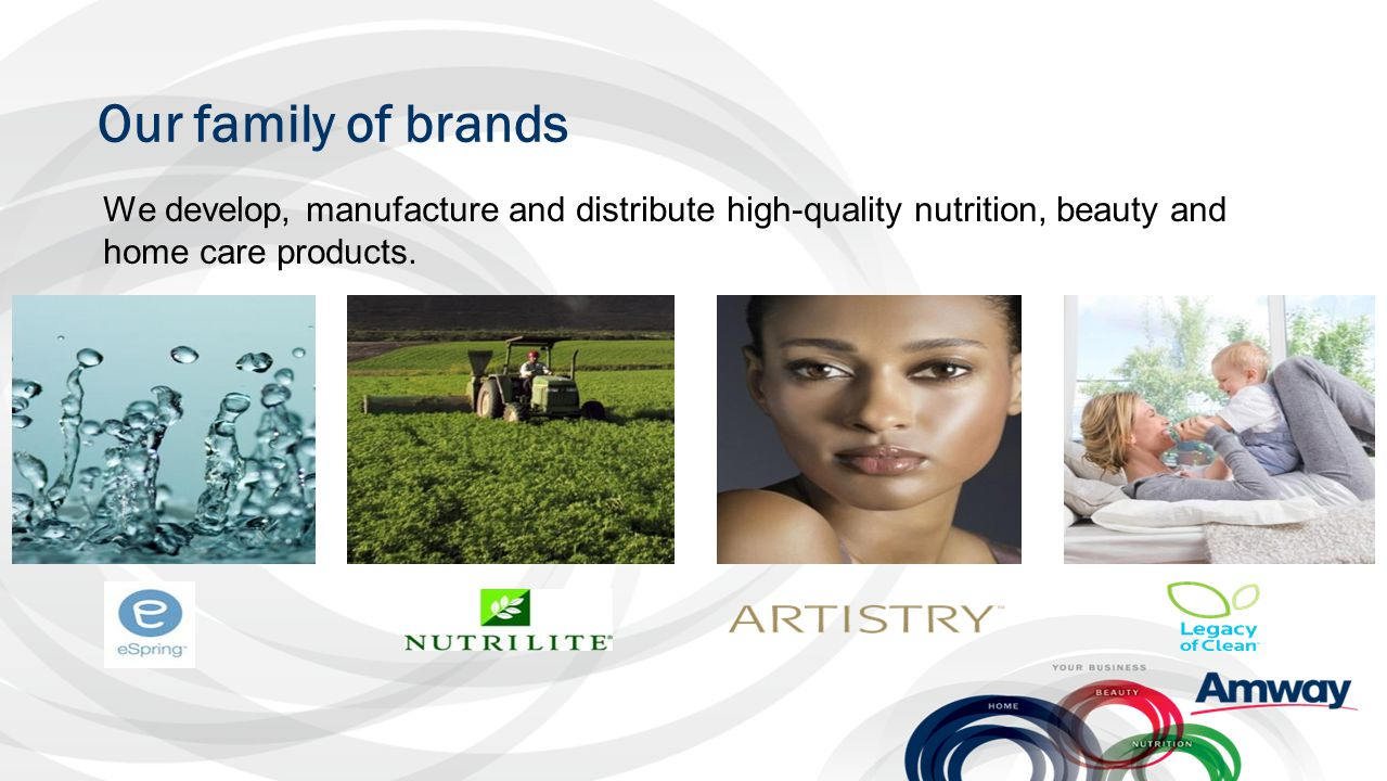 Our family of brands We develop, manufacture and distribute high-quality nutrition, beauty and home care products.