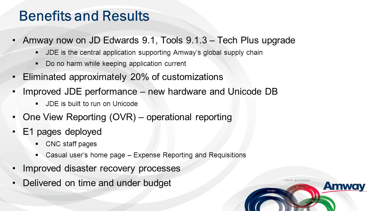 Benefits and Results Amway now on JD Edwards 9.1, Tools 9.1.3 – Tech Plus upgrade.