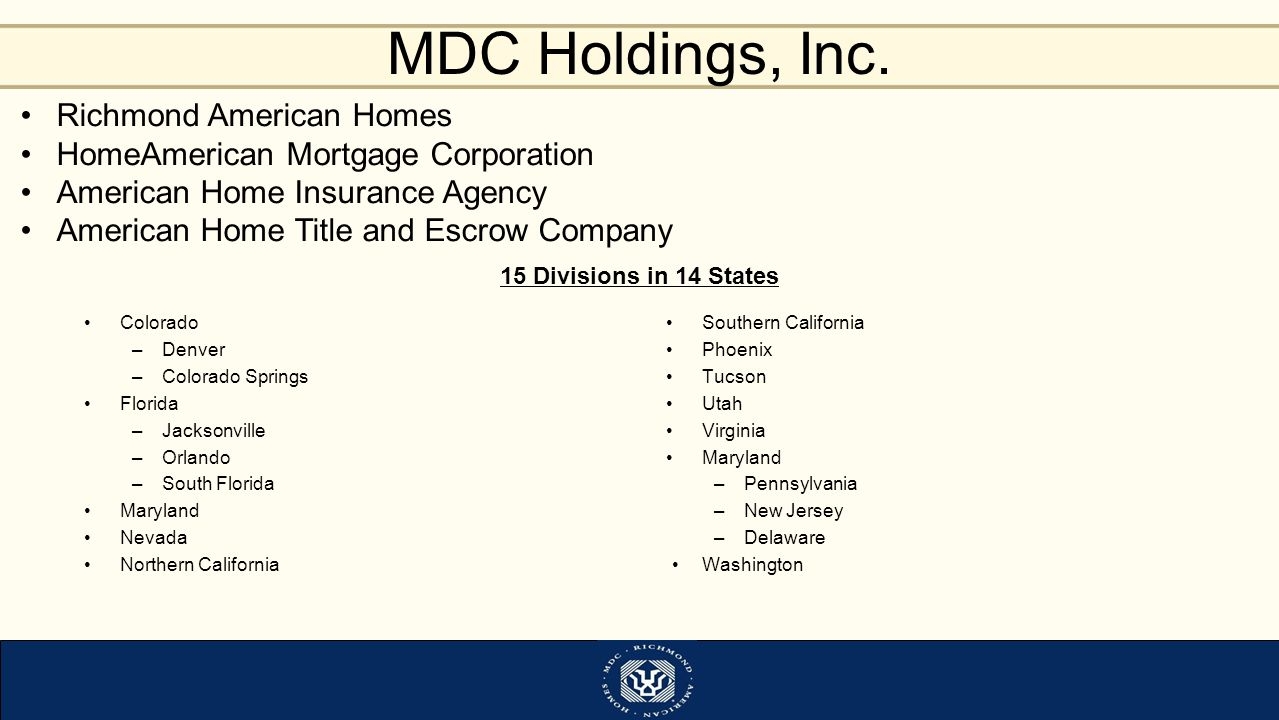 Richmond American Homes HomeAmerican Mortgage Corporation