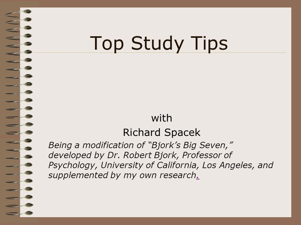 Top Study Tips with Richard Spacek