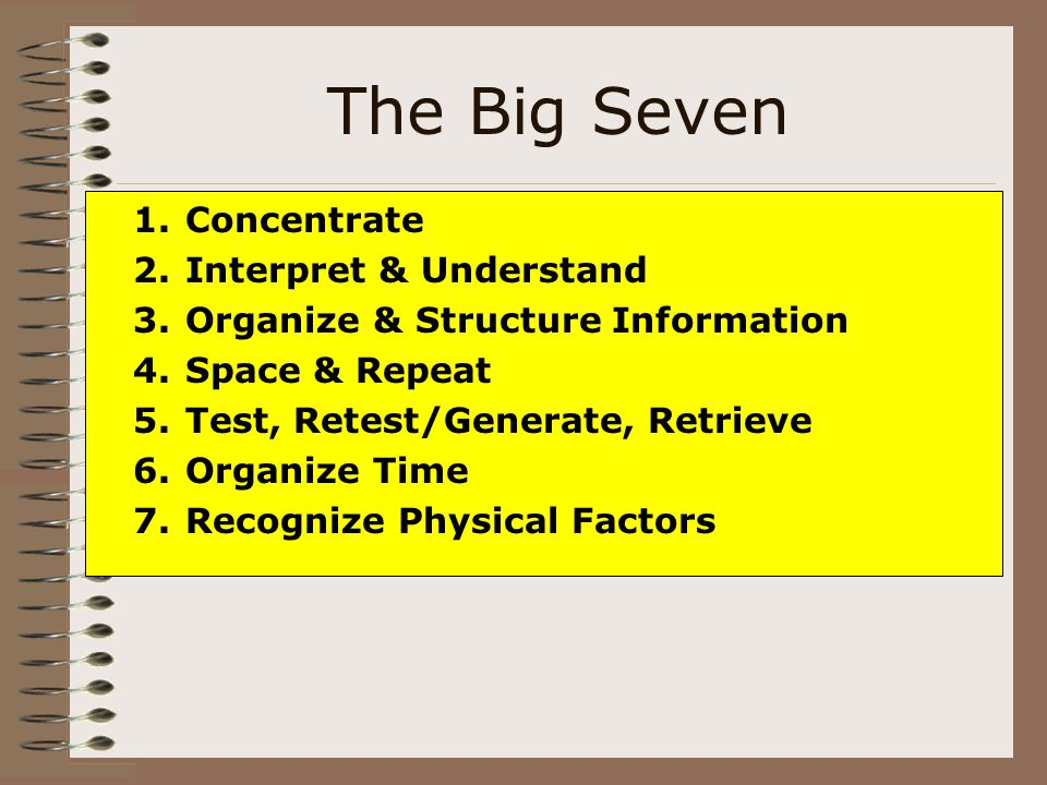 The Big Seven Concentrate Interpret & Understand