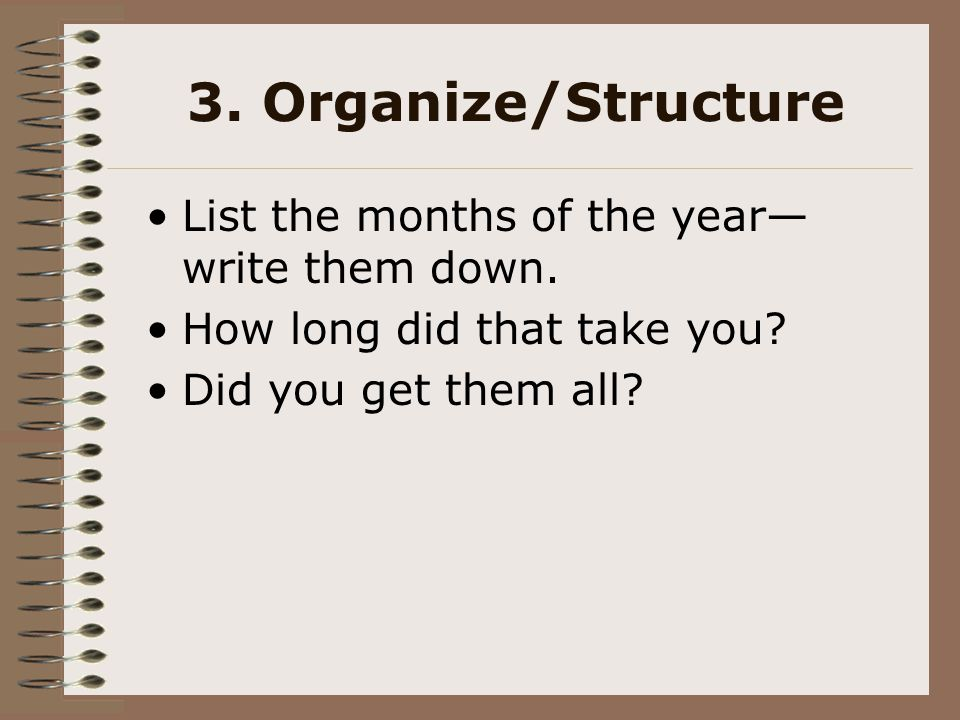 3. Organize/Structure List the months of the year—write them down.