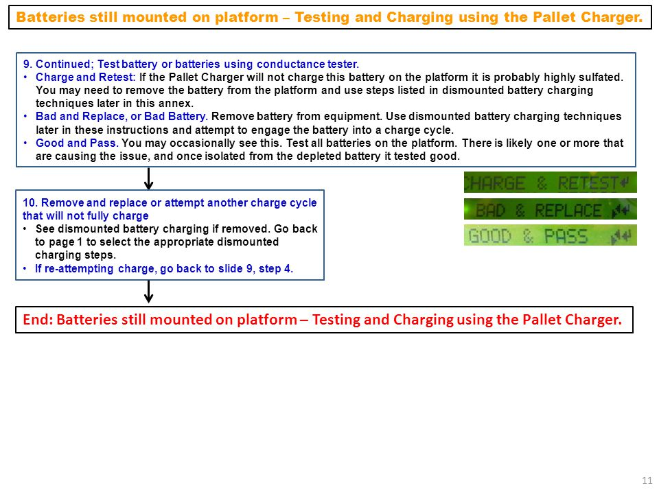 Batteries still mounted on platform – Testing and Charging using the Pallet Charger.