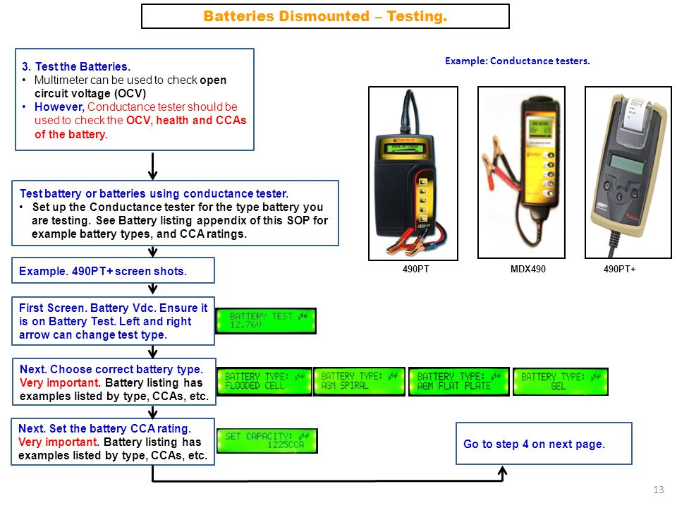 Batteries Dismounted – Testing. Example: Conductance testers.