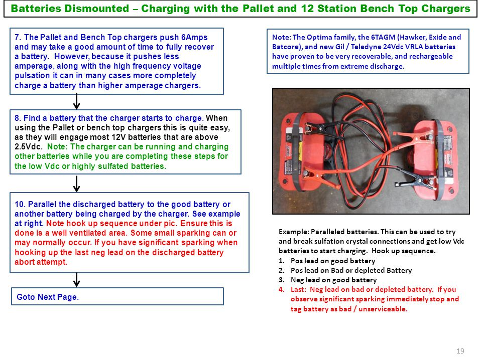 Batteries Dismounted – Charging with the Pallet and 12 Station Bench Top Chargers