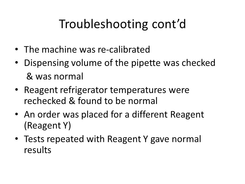 Troubleshooting cont'd