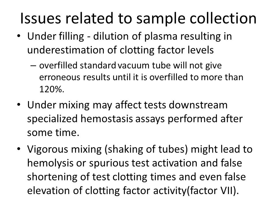 Issues related to sample collection